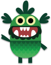 Green monster hand up